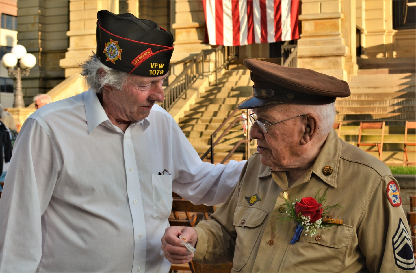 World War 2 Veteran was the guest speaker at the rededication ceremony for the WWII Memorial and he was also the guest speaker when the memorial was first dedicated the first time in 1950. Commander Root and Arthur Goodman